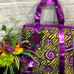 Betseyville Yellow/Purple Signature Floral Tote
